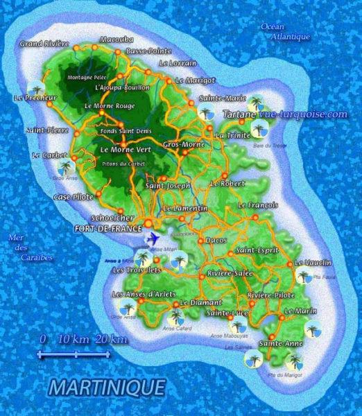 Carte des plages en Martinique Vue Turquoise