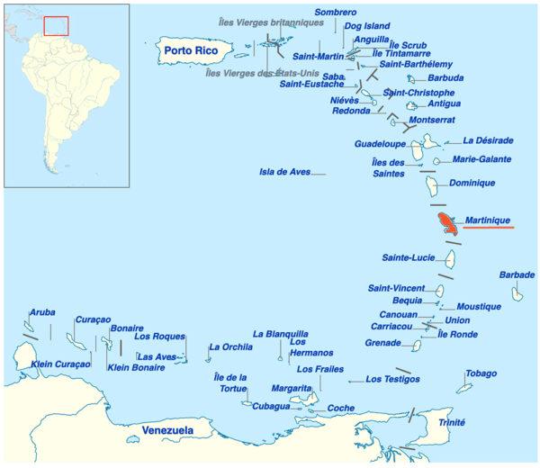 carte des Petites Antilles