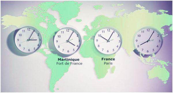 Quelle heure est-il en Martinique, Voyage et décalage horaire avec Paris