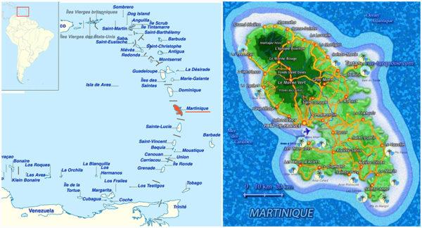 La situation de la Martinique – cartes, situations, accès des villes et plages.