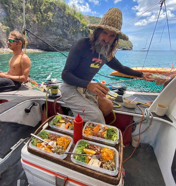 Repas bio voilier Martinique
